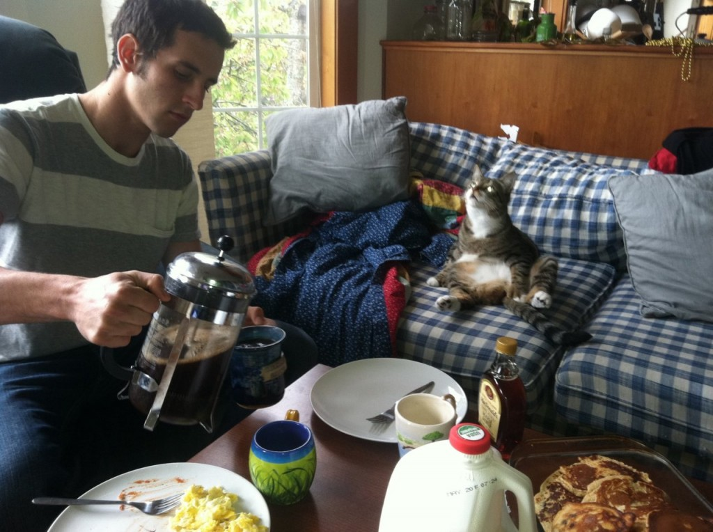 http://cuteboyswithcats.net/post/11175662704/steve-and-henry-having-breakfast-alex-this-cat